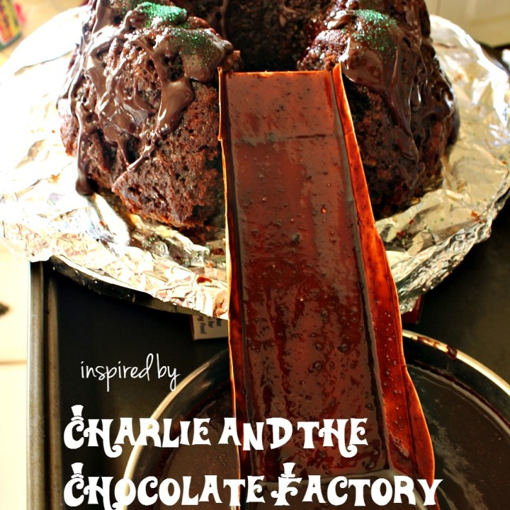 Chocolate Rum Bundt Cake with Chocolate Syrup {churned by Willy Wonka's chocolate waterfall}