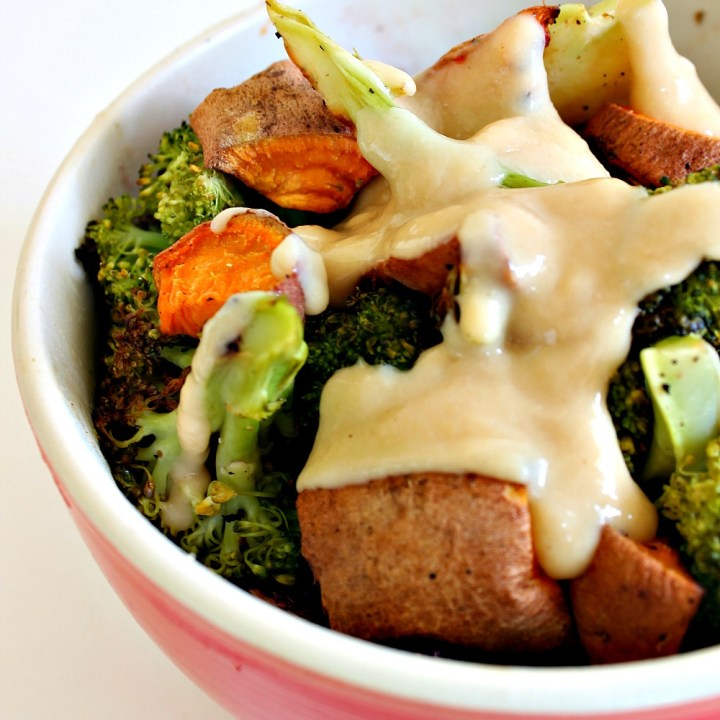 Roasted Broccoli + Sweet Potato Black Rice Bowl with Sesame Miso Dressing { #VegFlavorBible Giveaway! }