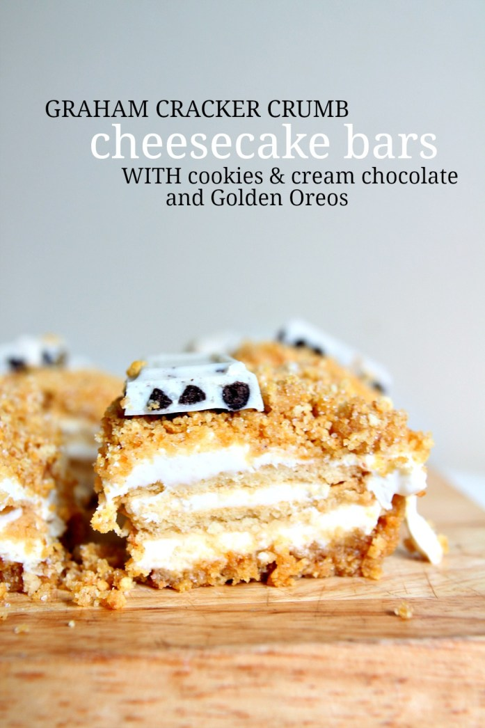 Graham Cracker Crumb Cheesecake Bars with Golden Oreos 2--060815