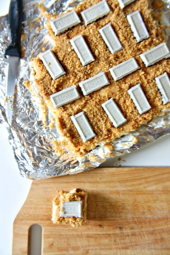 Graham Cracker Crumb Cheesecake Bars with Golden Oreos 8--060815