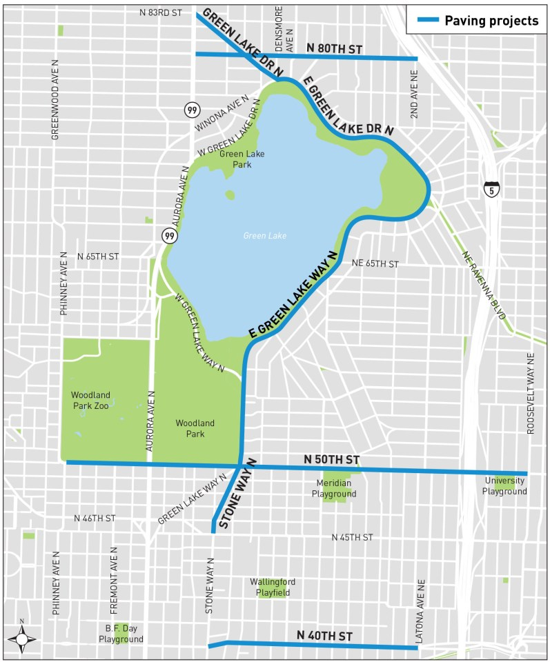 Green Lake area paving projects