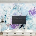 Turquoise Purple Marble Style Brush Wallpaper Mural Wallmur