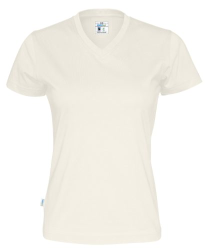V neck T-skjorte dame - off white