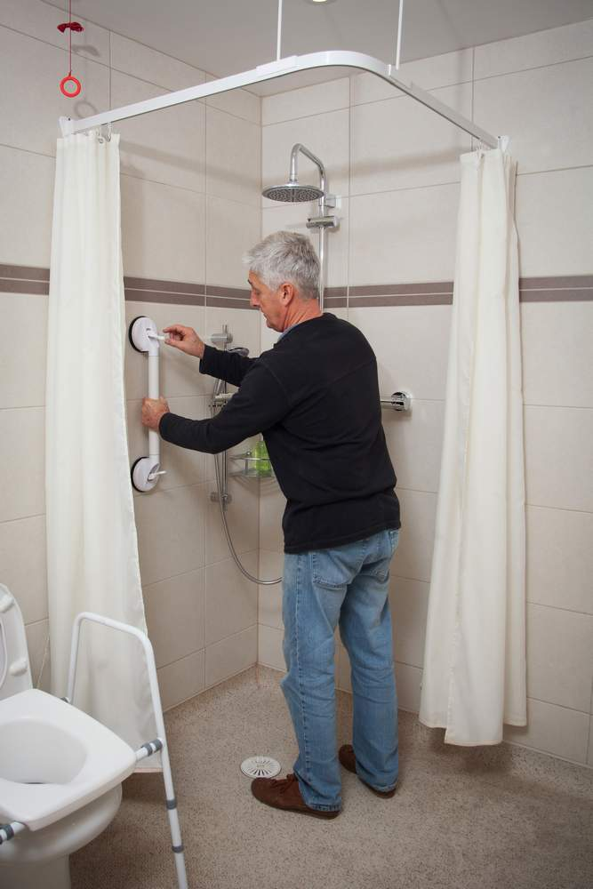 Grab rails cna be installed in the wet rooms at Wallops Wood