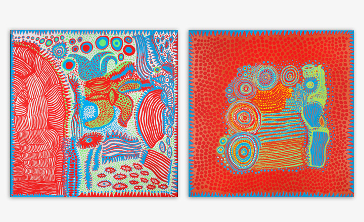 Among the works in the opening show at Ota Fine Arts are: 'Waking Up in the Morning' and 'Flowers That Bloomed Today', both by Yayoi Kusama, 2012, Image courtesy of Wallpaper and Ota Fine Arts