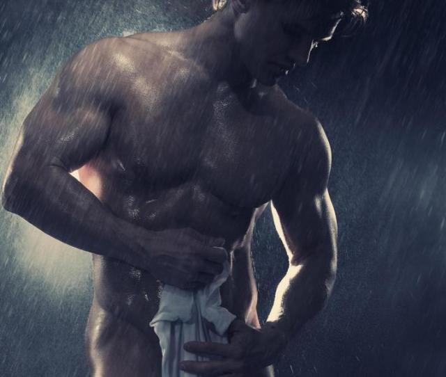 Muscular Man Under The Shower Wallpaper