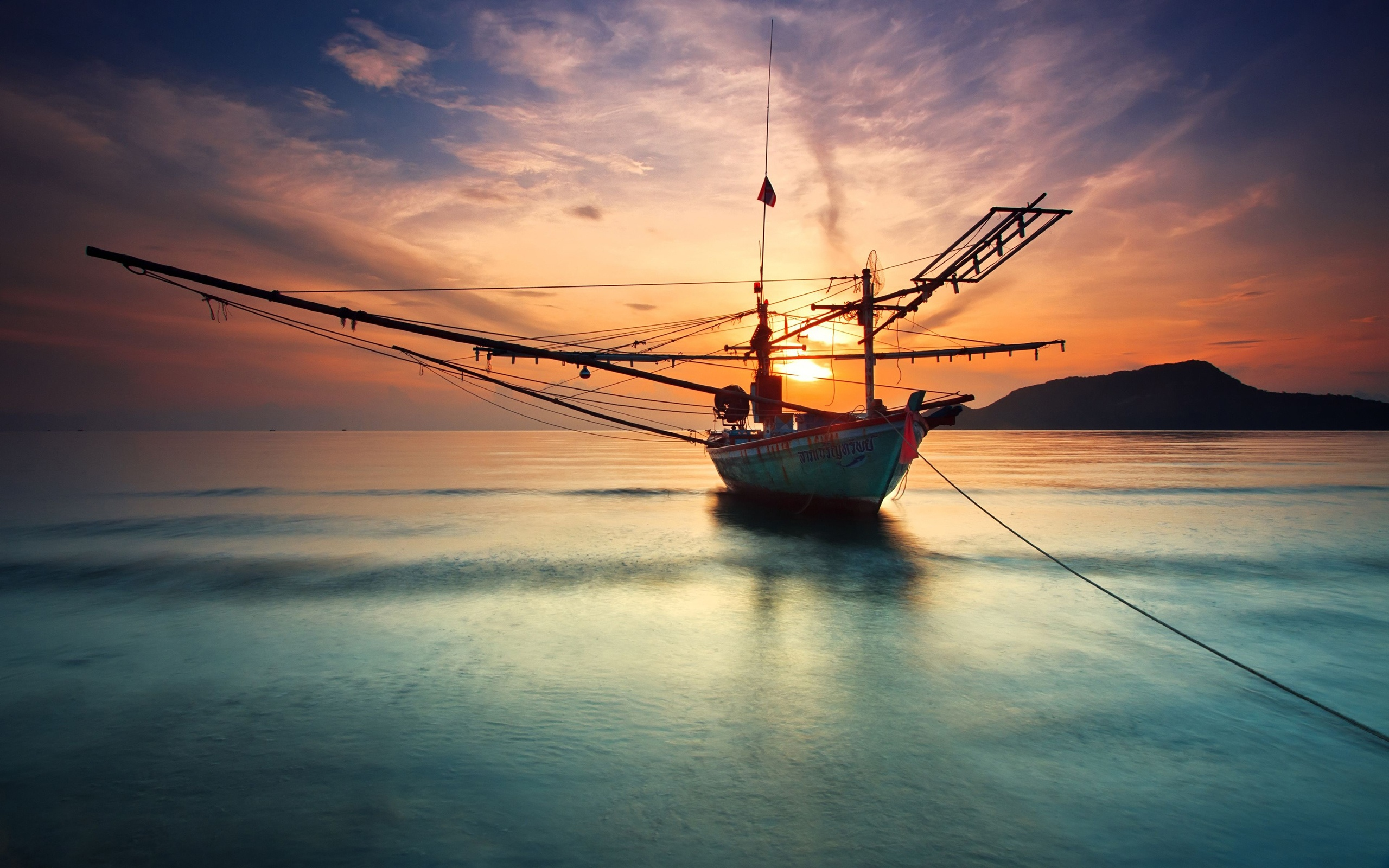 Ship At The Calm Sea Sunset Water Reflection Wallpaper