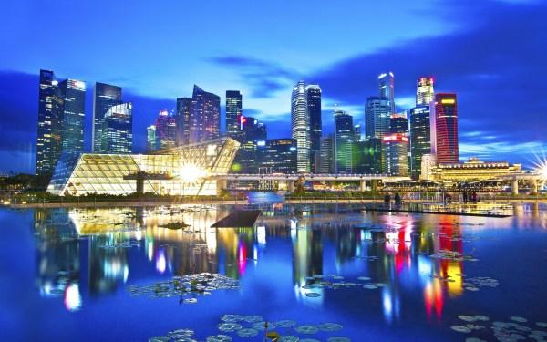 Travel city, Singapore, beautiful night, lights ...