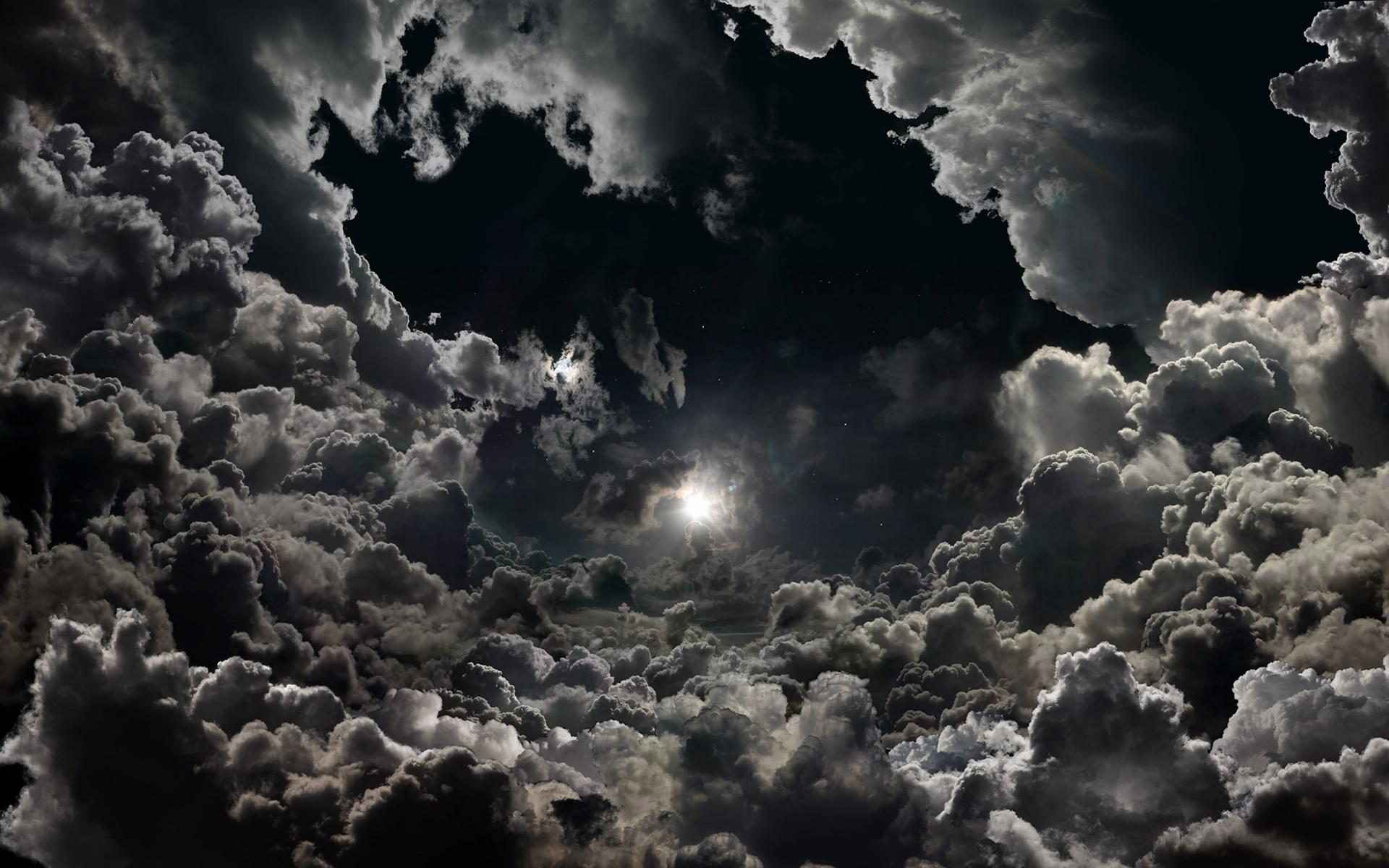 Moonlight Stars Night Clouds Sky Hd Wallpaper
