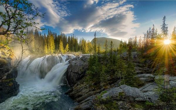 Waterfall, Sunset, River, Forest, Nature, Landscape, Sun ...