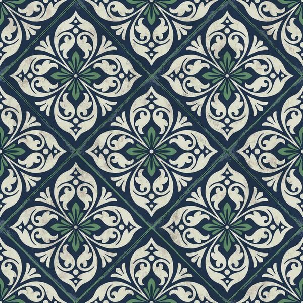 green white blue plumosa mosaic tile wallpaper