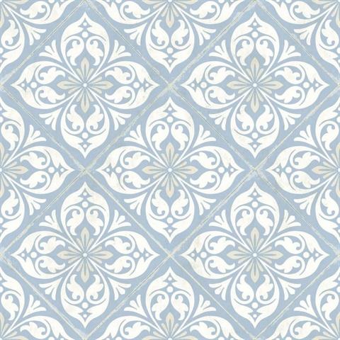 white sky blue plumosa mosaic tile wallpaper