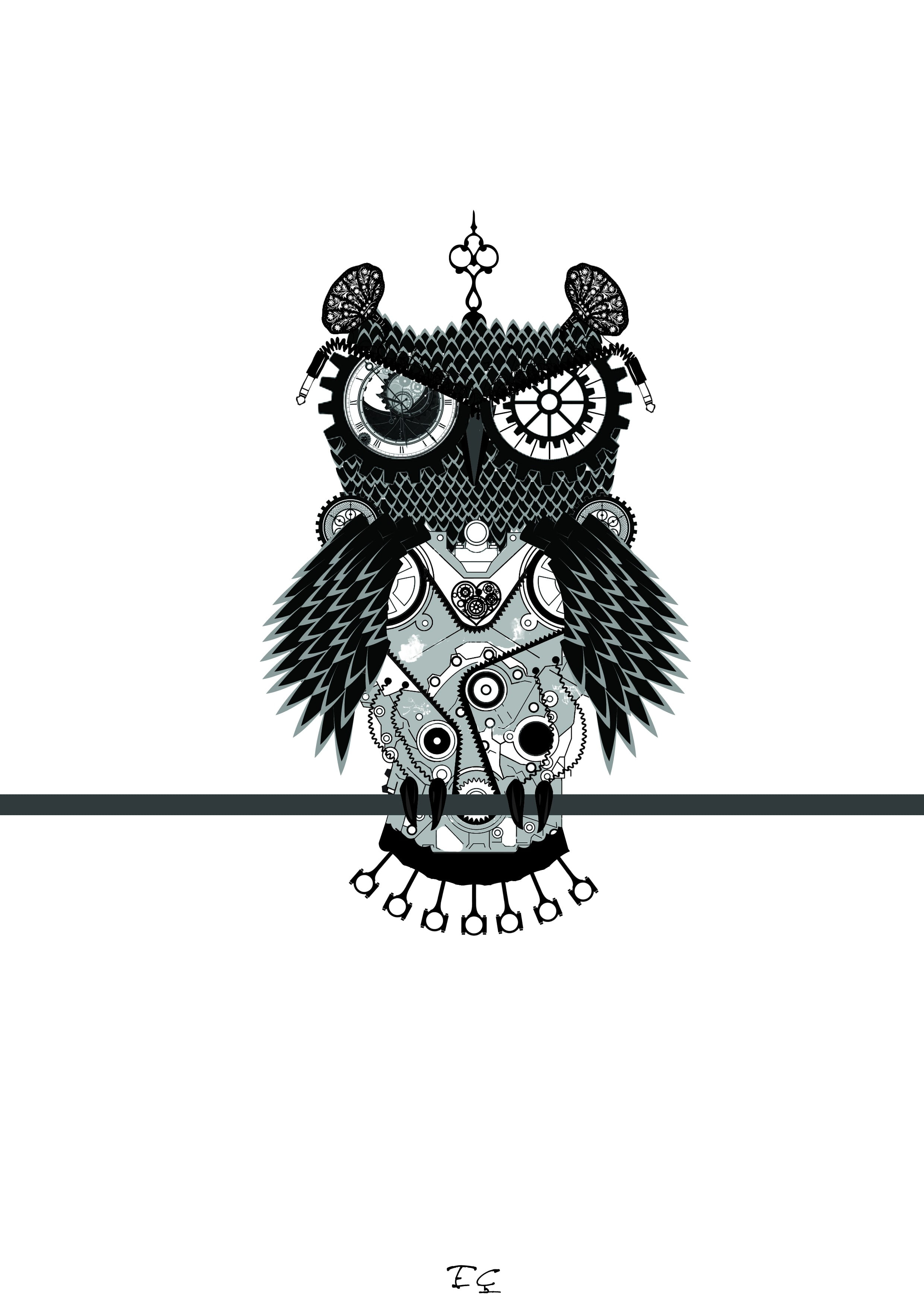 Black And White Owl Figurine Artwork Owl Abstract