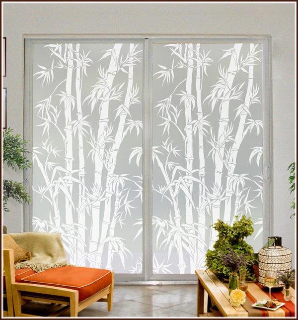 big bamboo etched glass privacy film