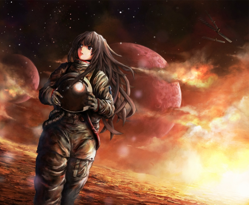 Brunettes Outer Space Red Planets Helmet Brown Eyes