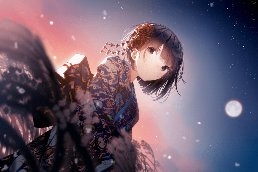Wallpaper Happy New Year 2018  Anime Girl  Kimono  Short Hair  Stars     1920x1280   happy new year 2018  anime girl  kimono  short hair  stars