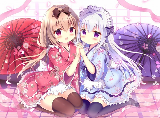 Image of: Bdfjade 1620x1200 Cute Anime Girls Kimono Friends Smiling Long Hair Headband Wallpapermaiden Wallpaper Cute Anime Girls Kimono Friends Smiling Long Hair