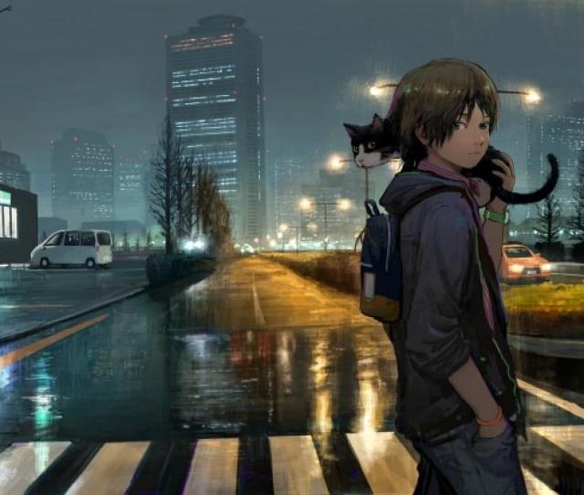 1845x1184 Anime Boy Streets Cat Walking Night Buildings Urban