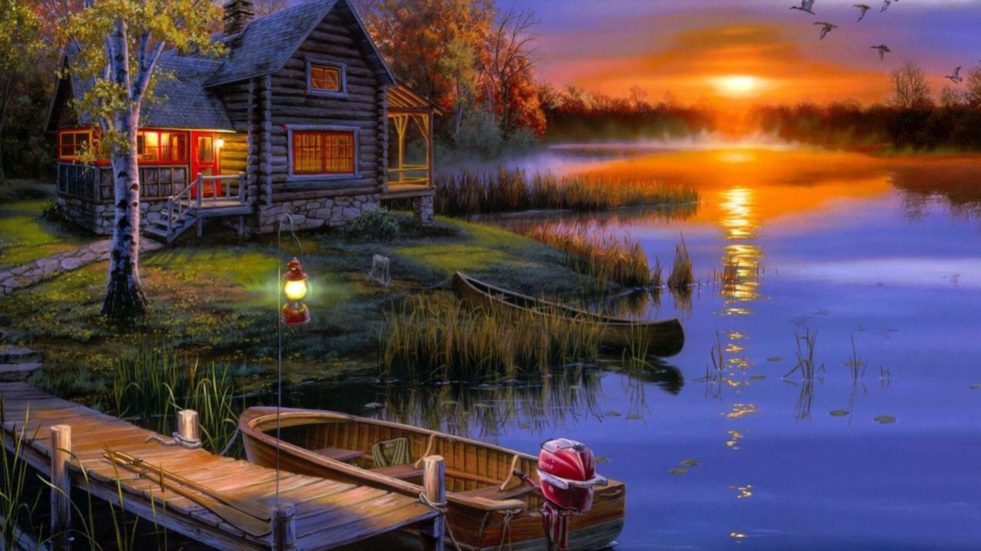 House Lake Sunset Wallpaper 08453