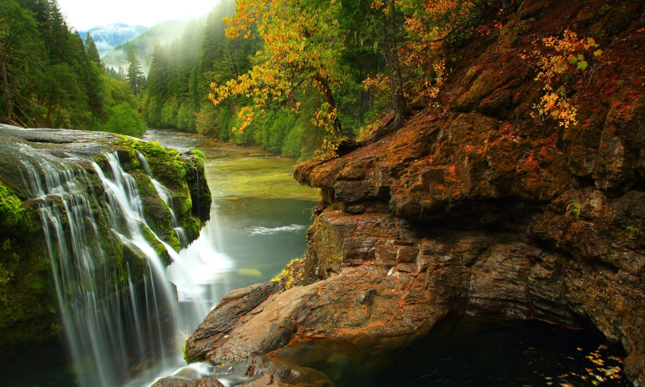 Lewis River Falls In Gifford Pichot Forest In Washington