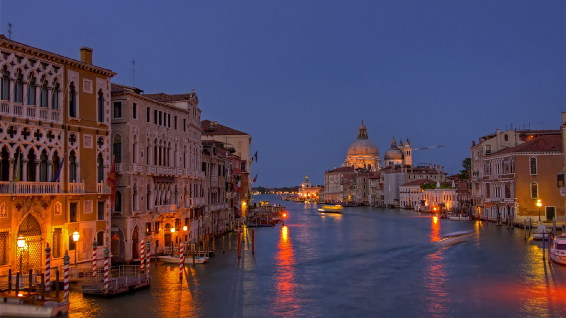 Night View Grand Canal Venice Italy