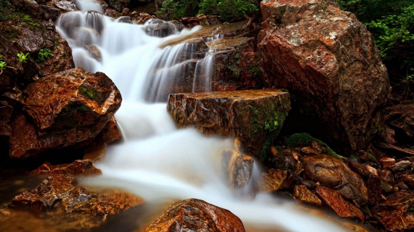 Waterfall Flow Water Rock Beautiful HD Wallpaper