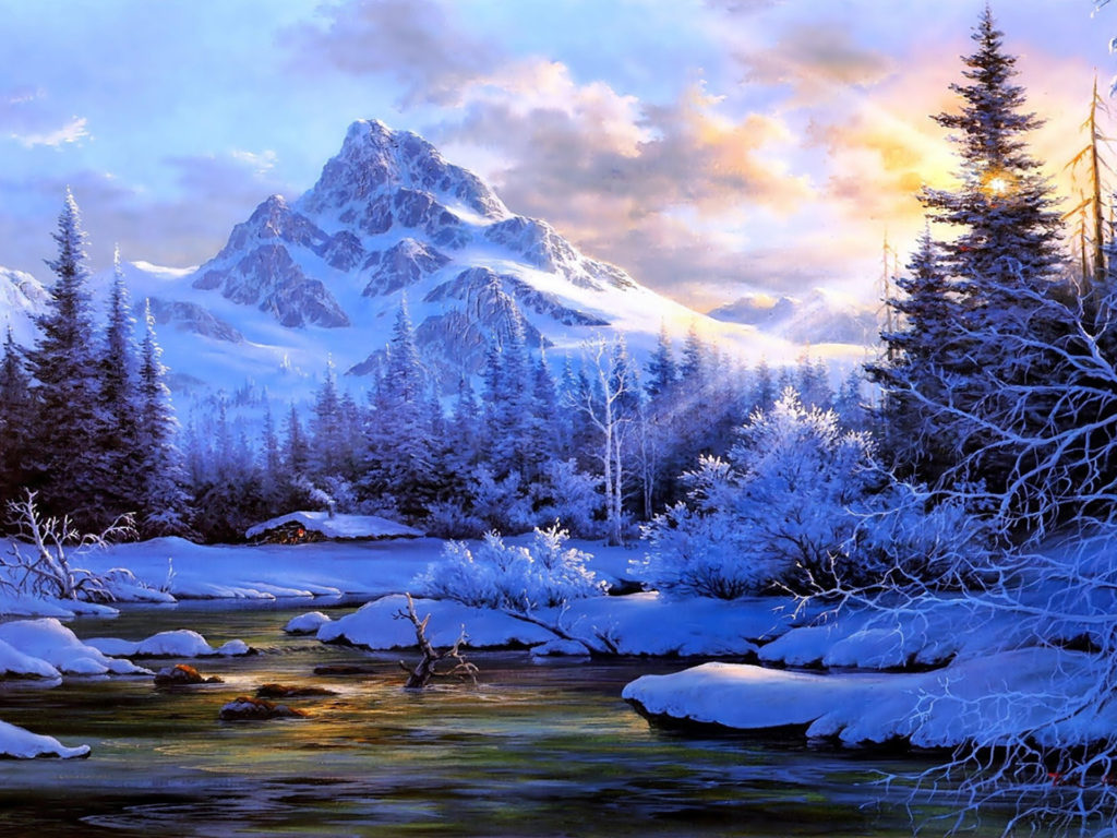 Winter Landscape Background Mountain River Trees Snow Covered
