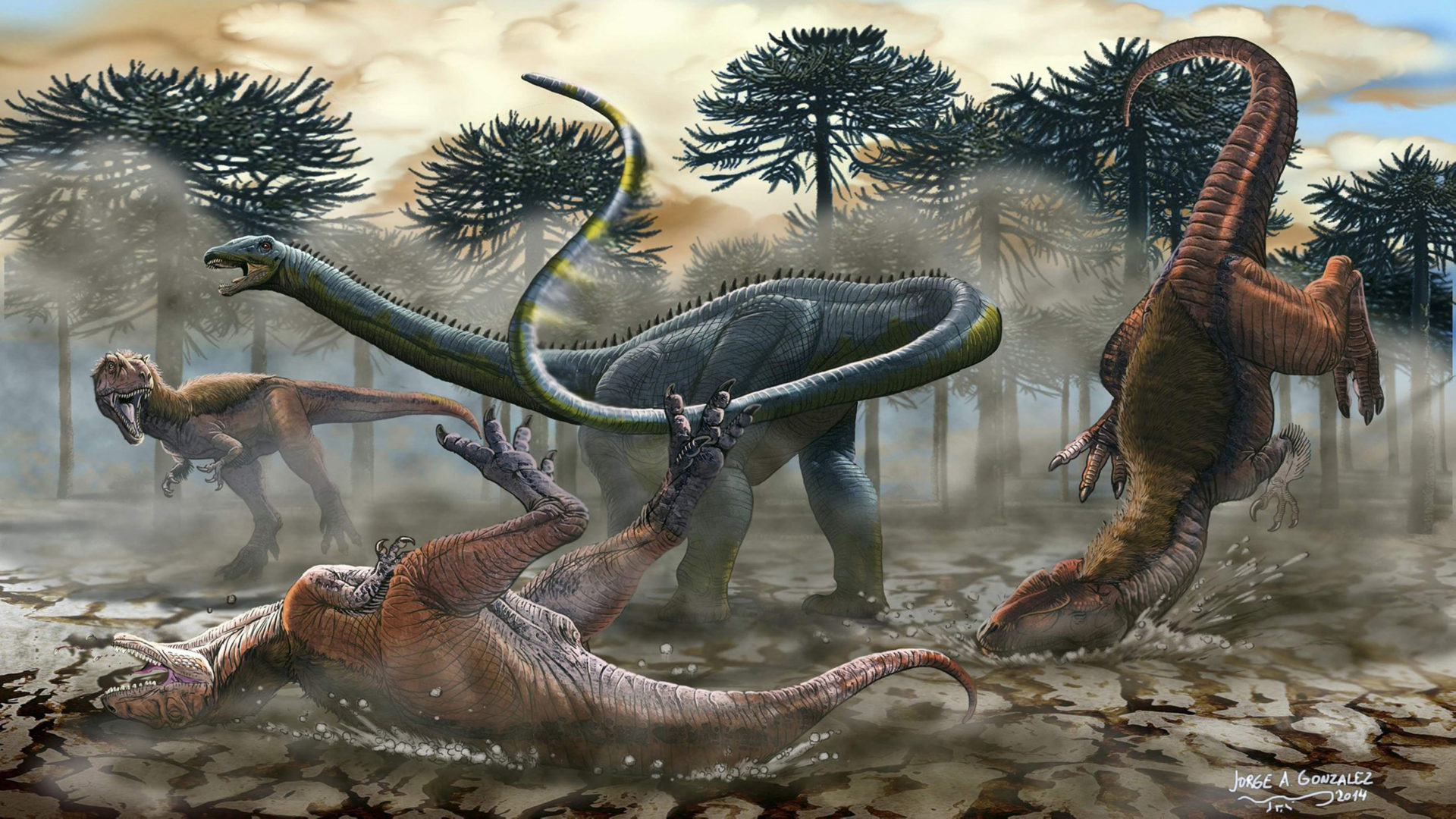 Illustration Of A Newly Identified South American Dinosaur