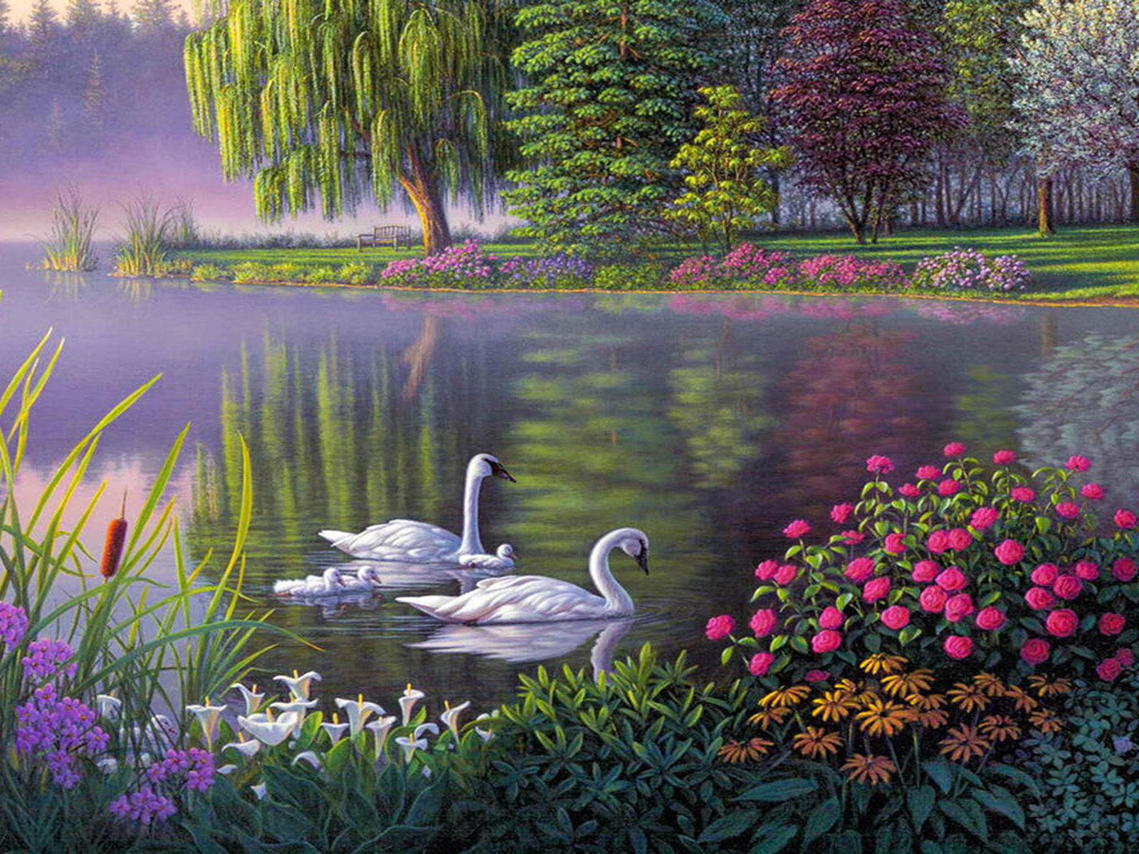 Landscape Swan Lake Trees Flowers Art Wallpaper HD