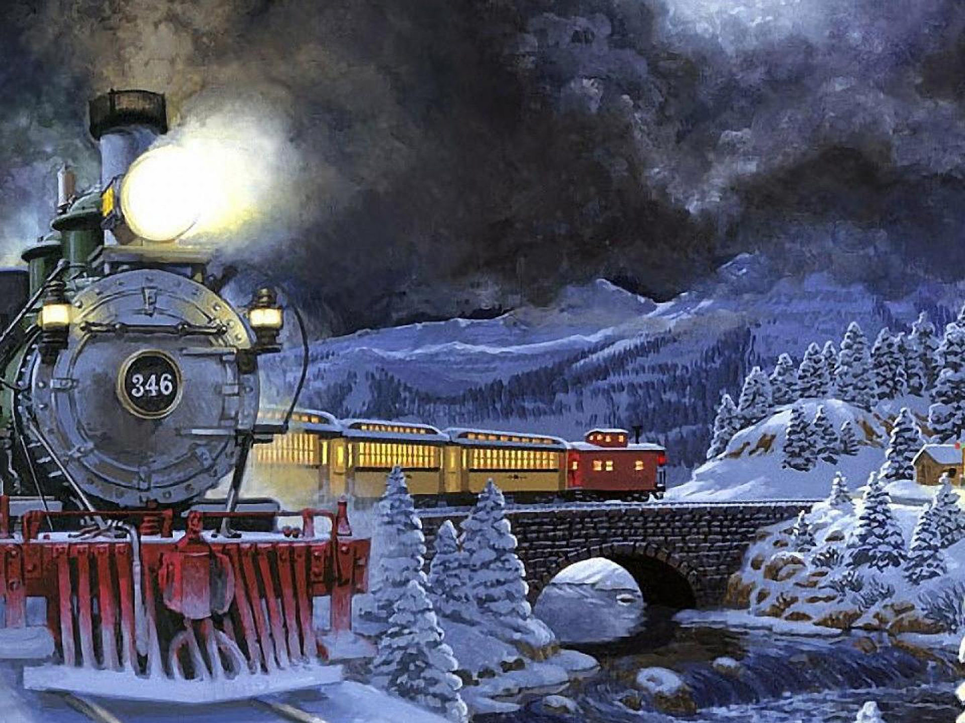Winter Night Moving Train Light Snow Trees Stone Bridge