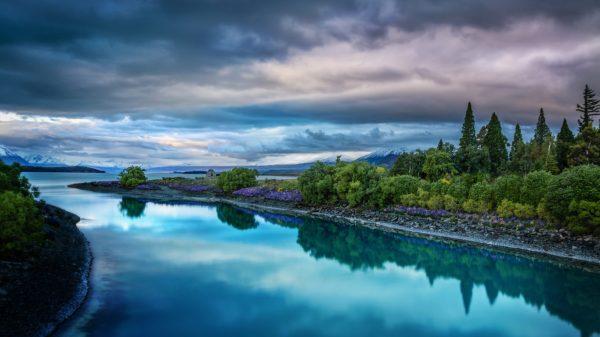 Evening On The Blue Lake Tekapo Desktop Wallpaper Hd ...