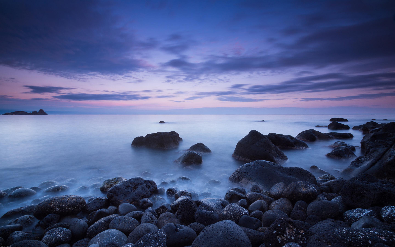 Italy Aci Catena Sea Coast With Rocks Calm Sea Dark Cloud Desktop Hd Wallpaper