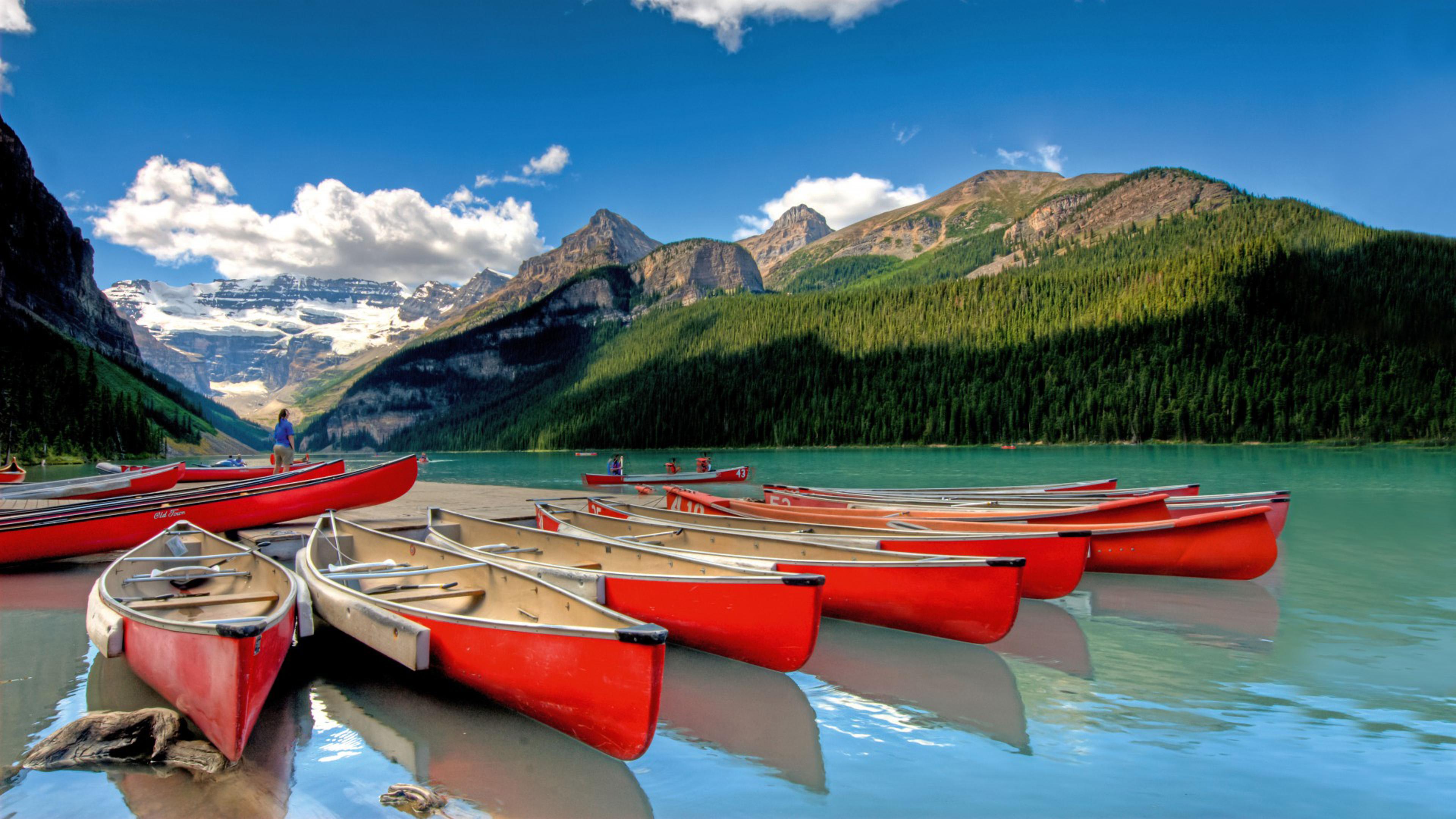 Lake Louise Is A Hamlet In Alberta Canada Banff National Park Marina Mountains Canoeing Desktop