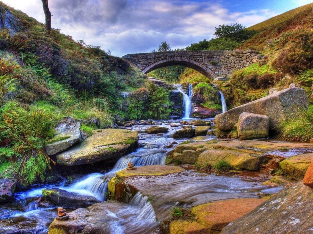 Mountain Stream Stone Bridge Gully With Rock Widescreen