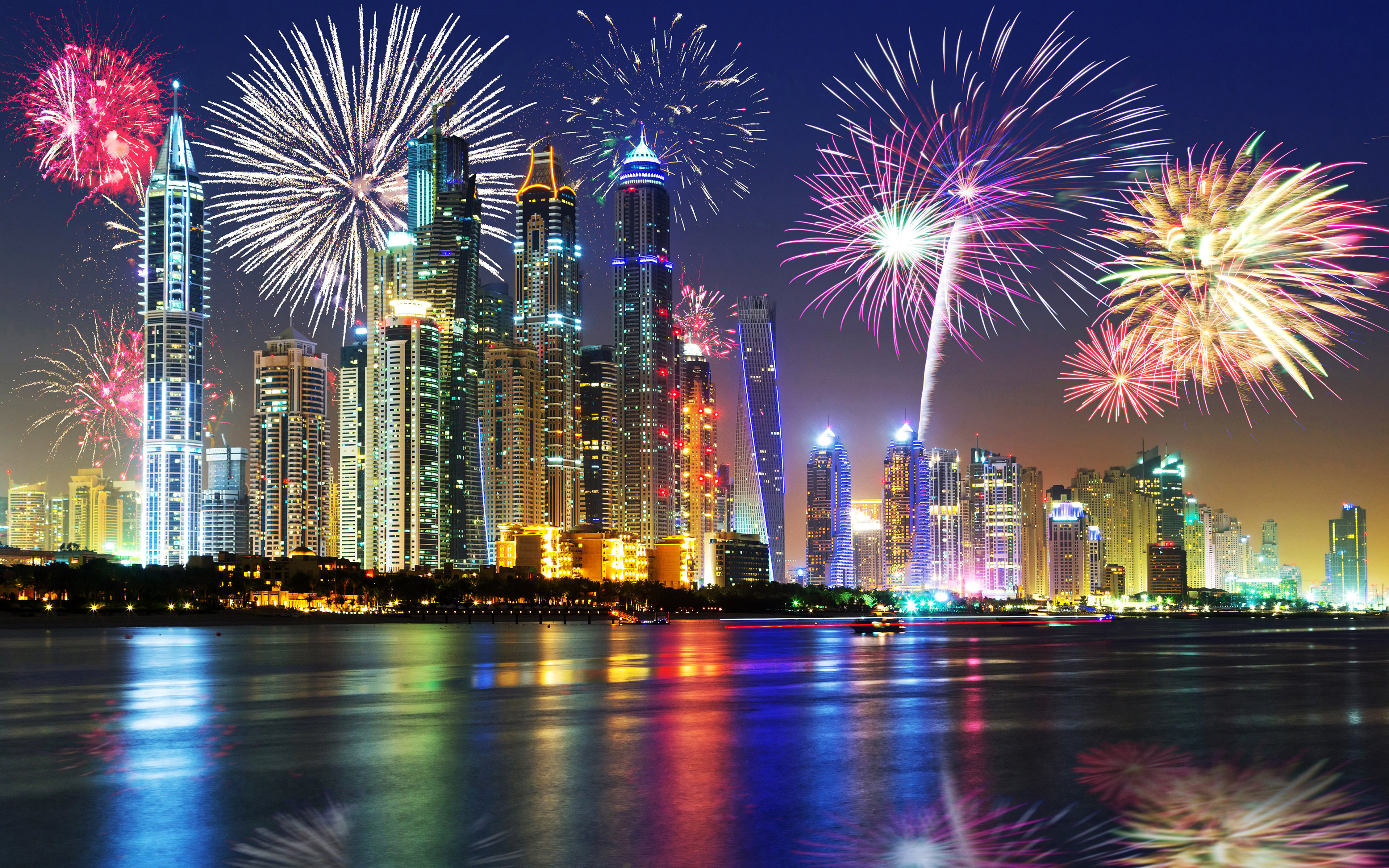 Dubai City At Night Christmas Holidays Fireworks In The