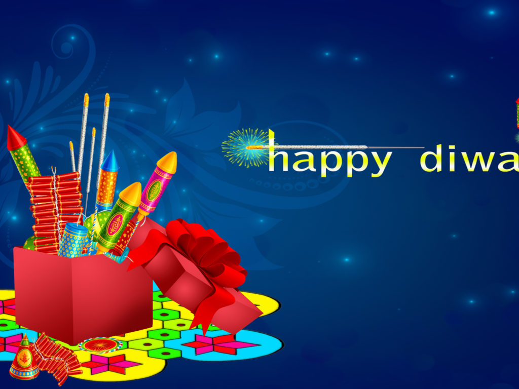Happy Diwali Colorful Crackers Blue Background Desktop Hd Wallpaper For Mobile Phones Tablet And