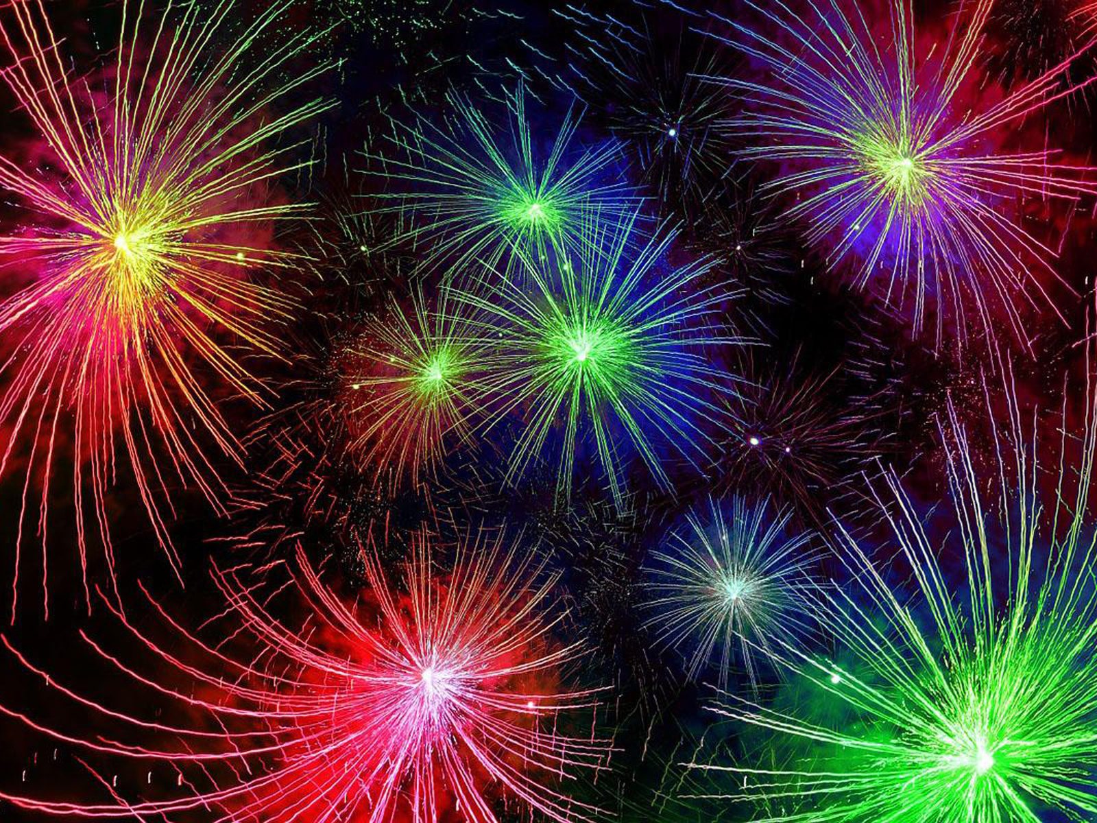 Happy New Year Live New Years Fireworks Red Blue Yellow