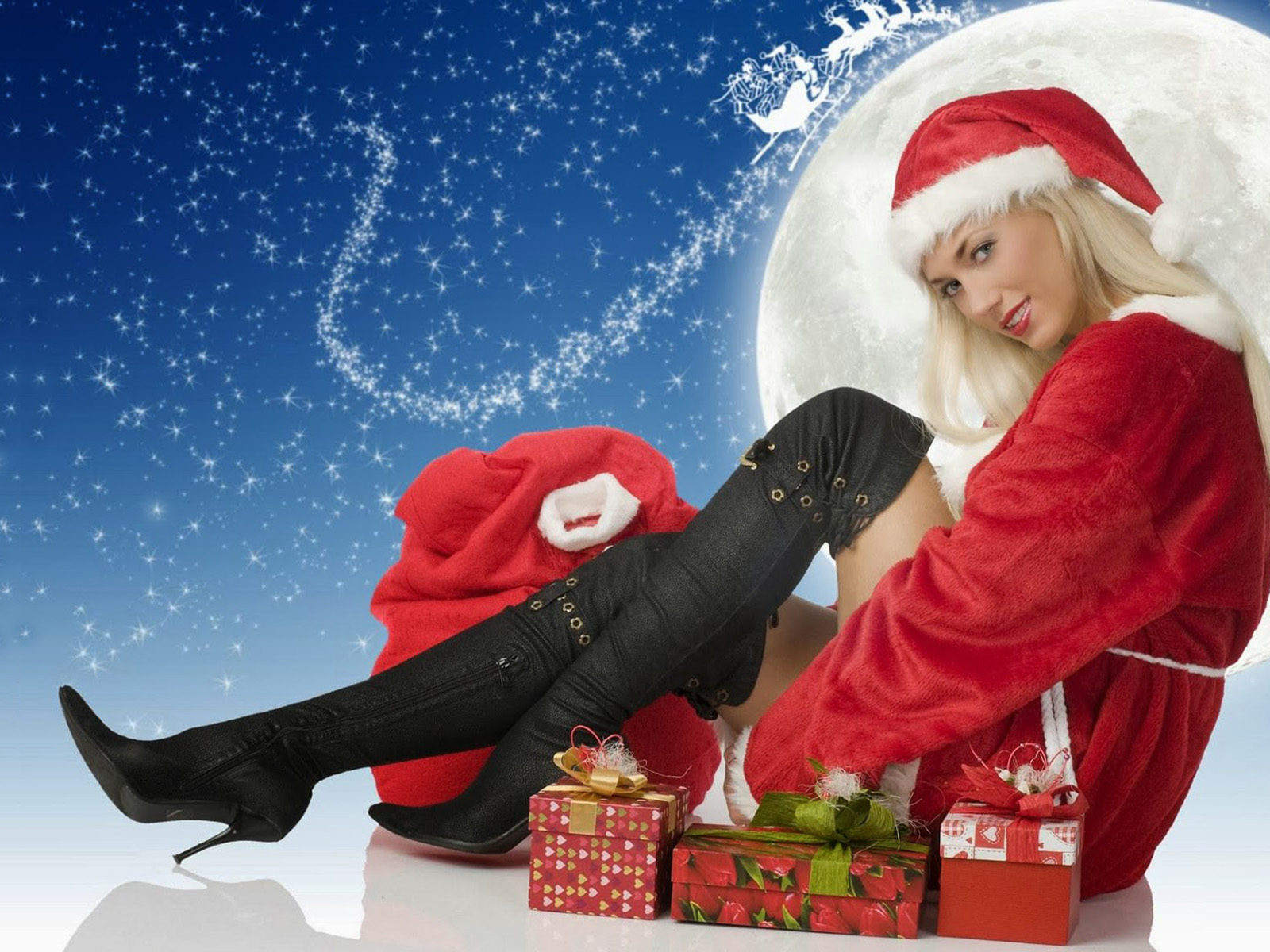 Happy New Year Santa Claus Girl Hd Wallpaper 1920x1200