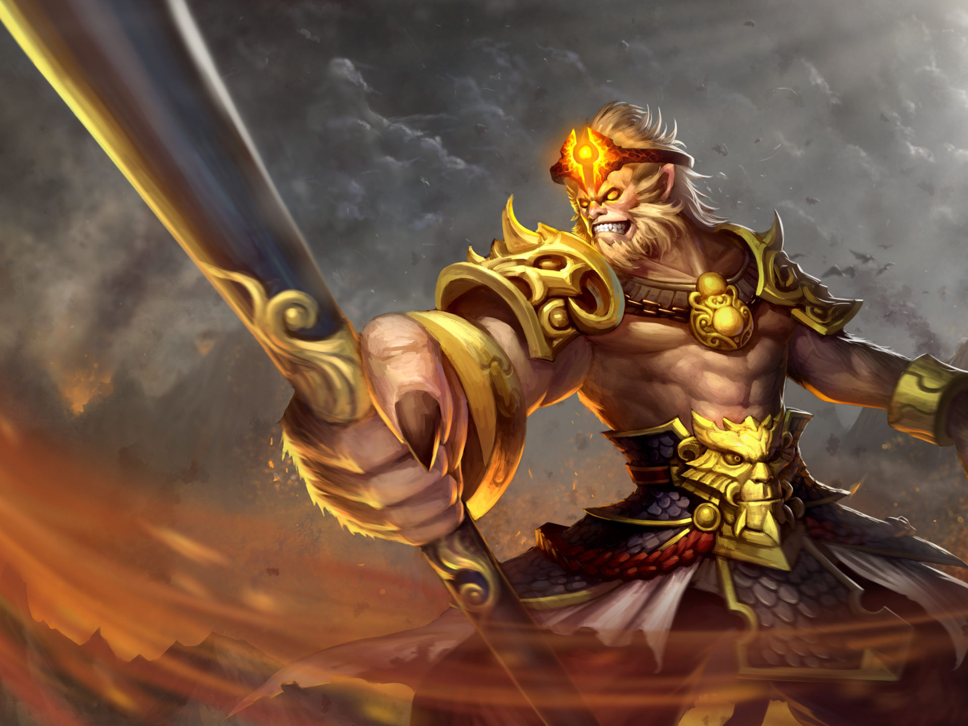 Zhou Xingchi Sun Wukong Monkey King Dota 2 Skin Art Wallpaper Hd 6000x3600