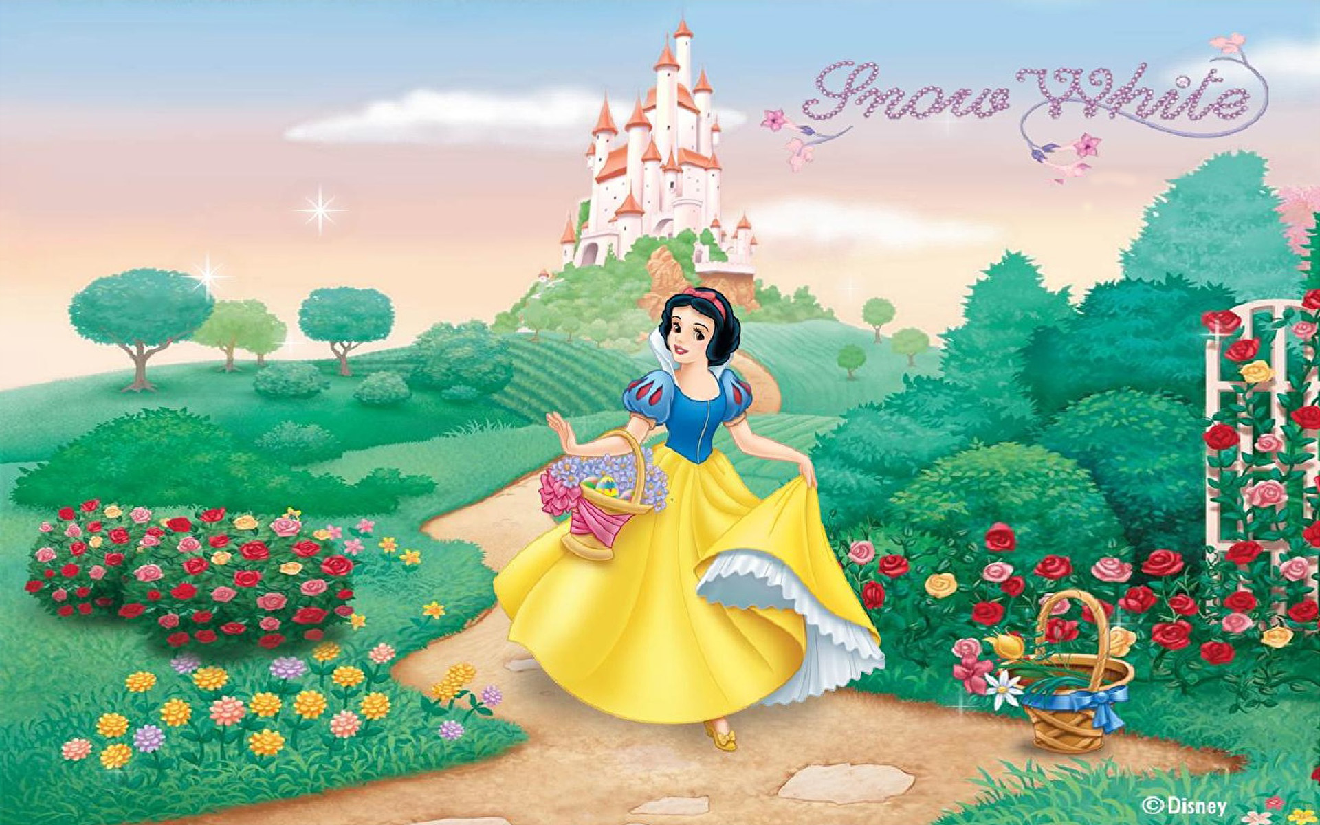 Castle Of Princess Snow White Garden Harvesting Flowers