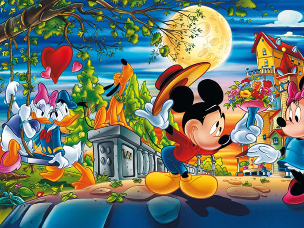 Valentine Day Cartoons Mickey With Minnie Mouse And Donald