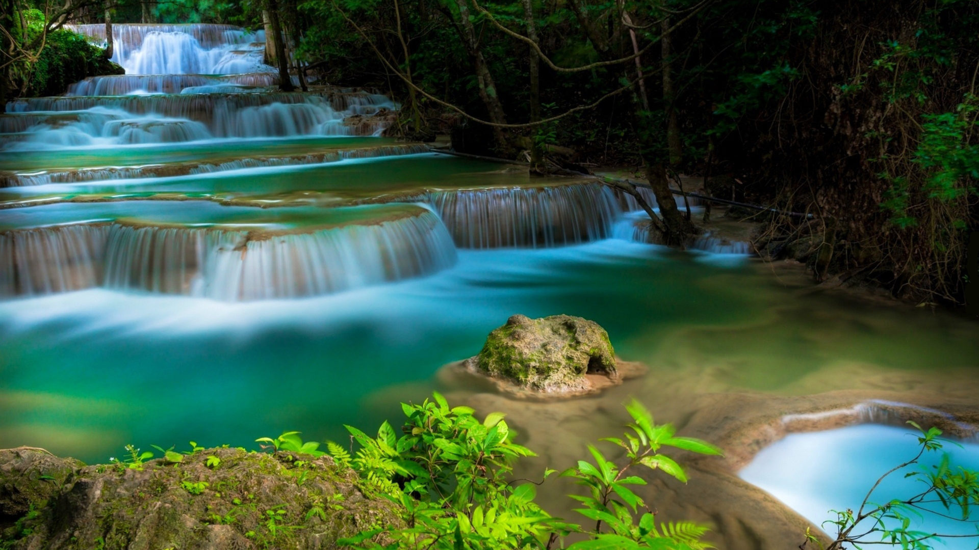 Beautiful Tropical Waterfall With Cascades Trees Water