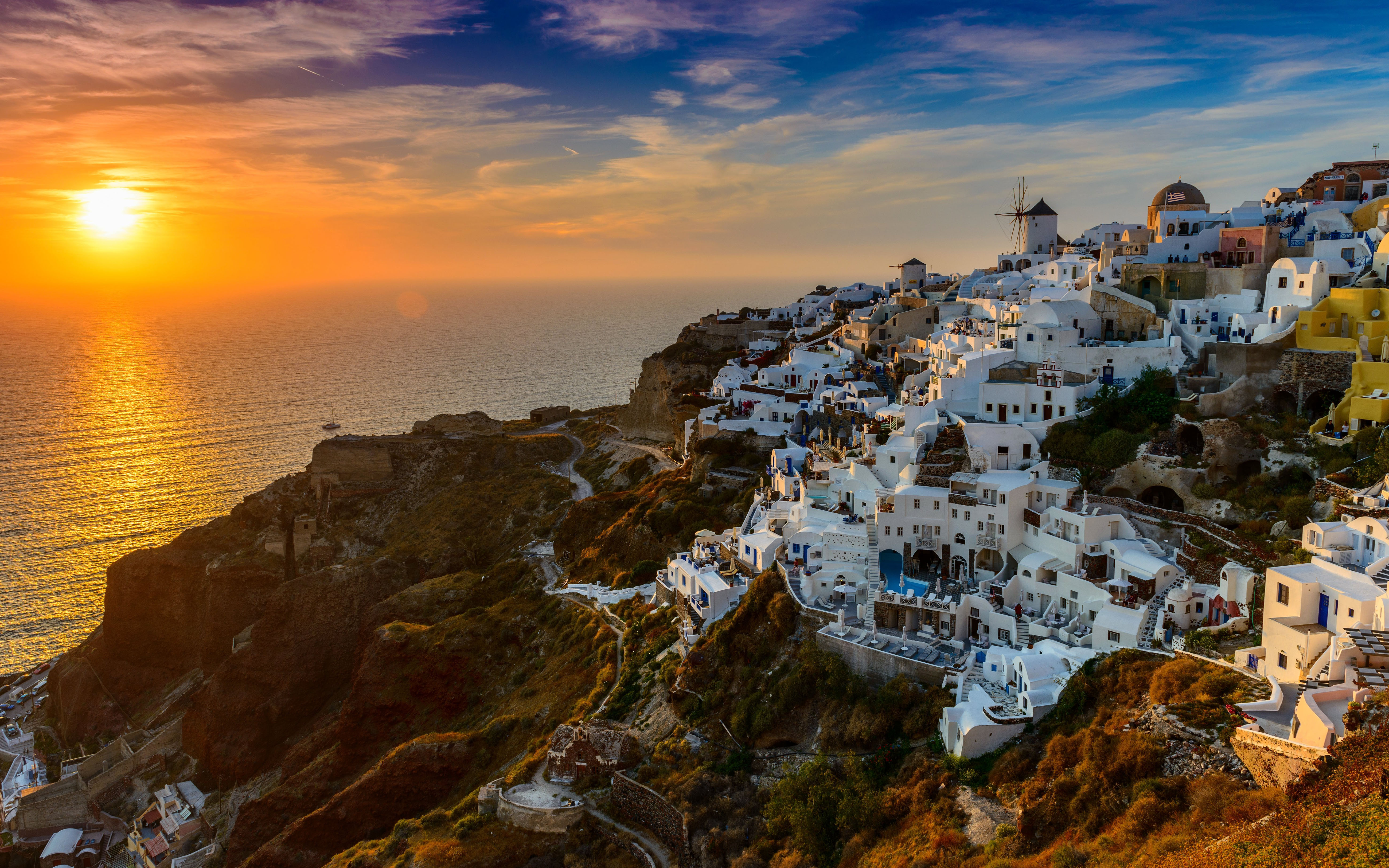Santorini Island In Greece Aegean Sea Sunset Desktop