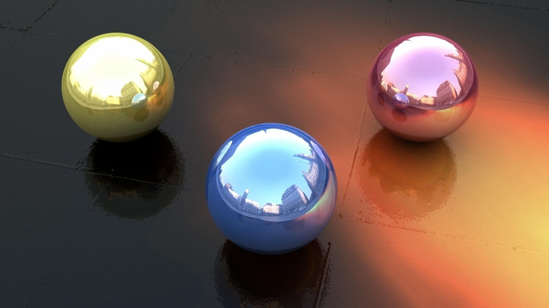 download wallpaper 1920x1080 balls, form, reflection full hd 1080p