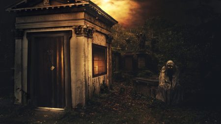 Download Wallpaper 1920x1080 Night Crypt Death Cemetery Darkness Full HD 1080p HD Background