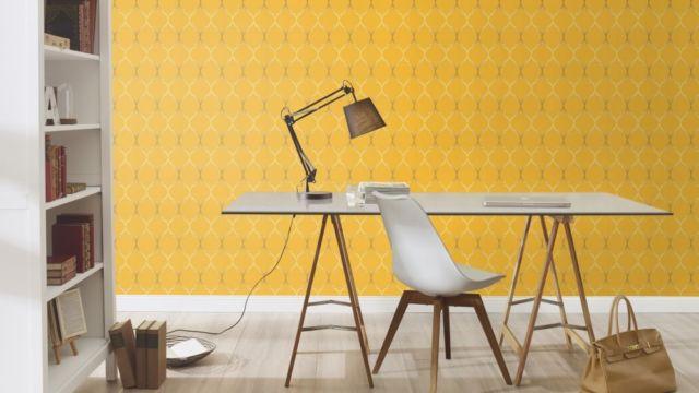 Blue And Yellow Wallpaper Non Woven Wallpaper Triangles: 701630 Selection Fleece Yellow Orange Gloss Wallpaper