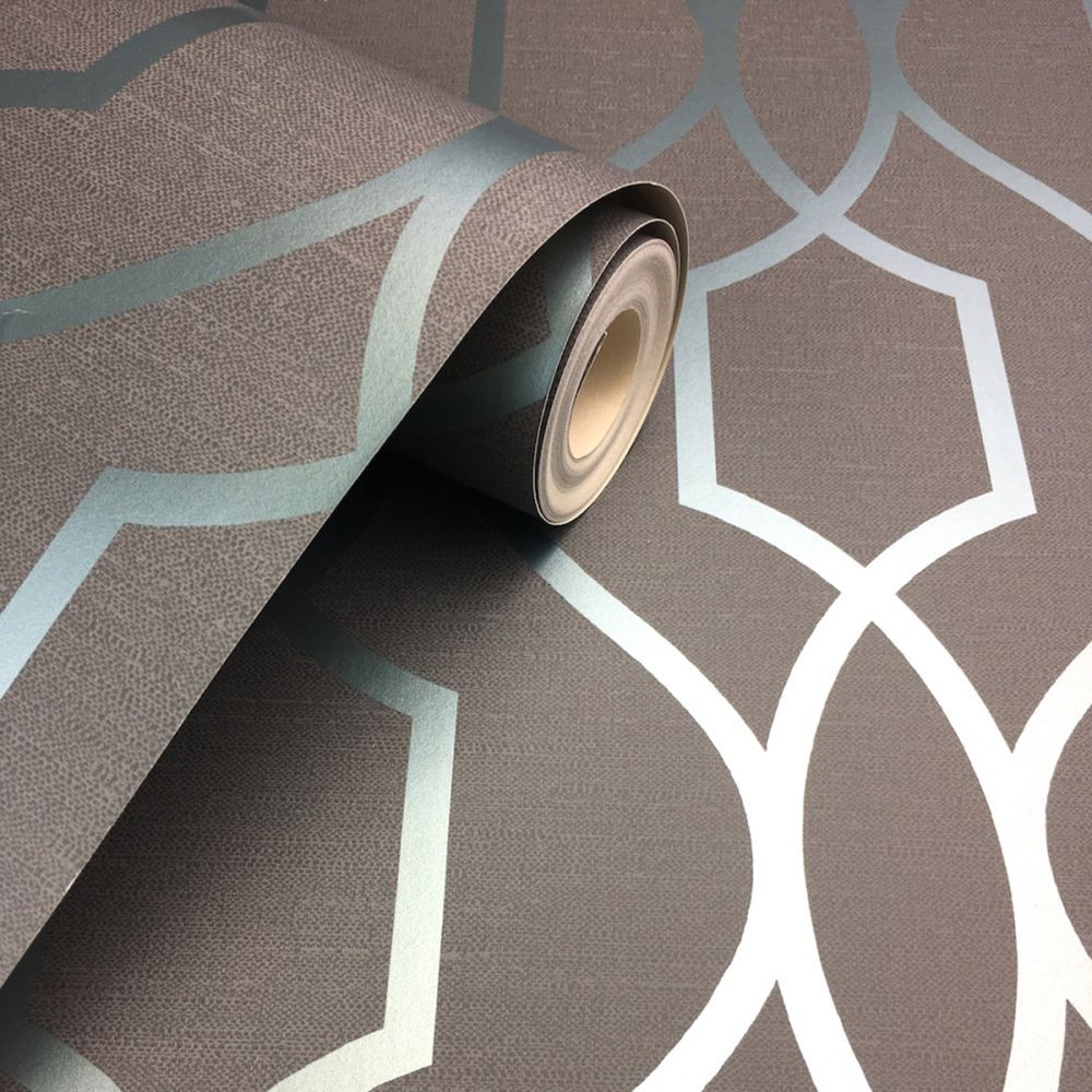 Apex Trellis Sidewall Wallpaper Copper: FD41996 Fine Decor Apex Trellis Blue Slate Wallpaper
