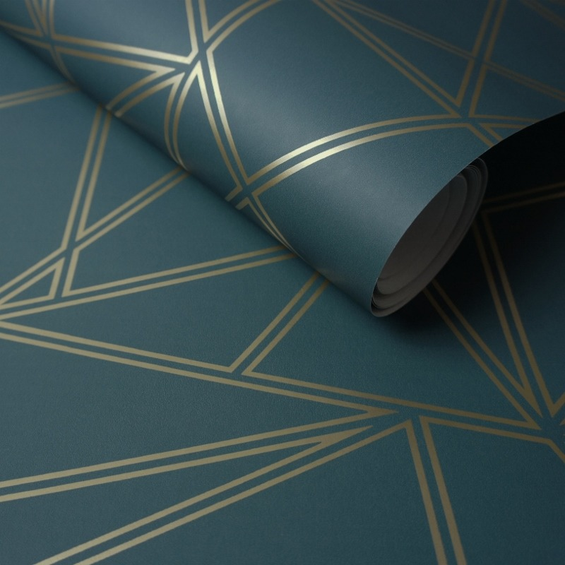 Teal Gold Palladium Geometric Wallpaper Wallpaper Sales