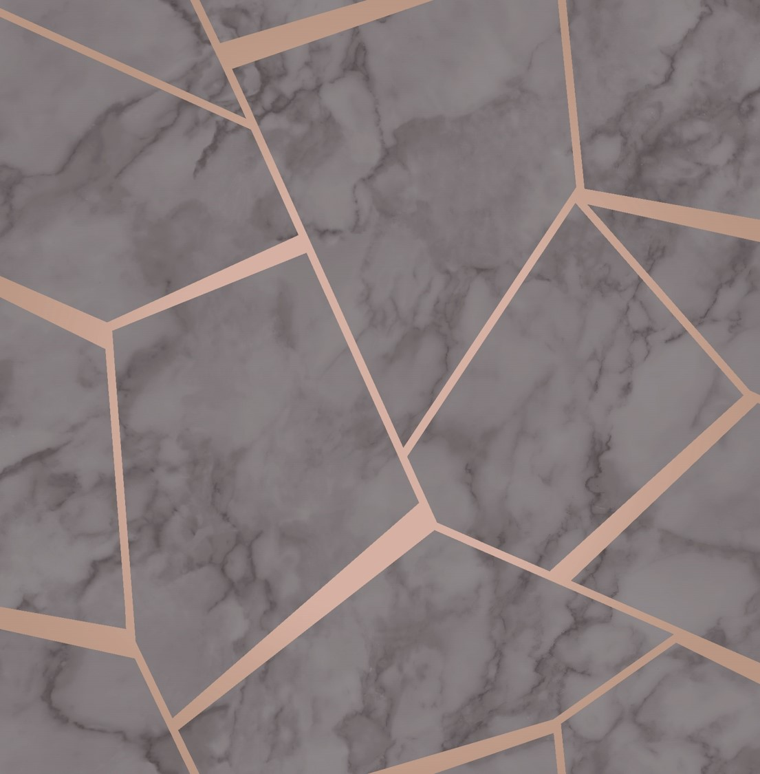 16 Rose Gold And Copper Details For Stylish Interior Decor: Copper/Rose Gold Fractal Marble Geometric