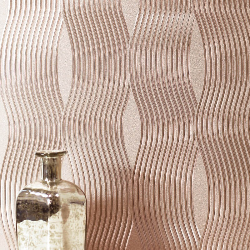 Arthouse Wave Rose Gold Foil Metallic Wallpaper 294500